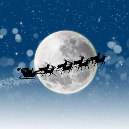 Illustration of Santa Claus and his reindeer sleigh in silhouette against a blue winter landscape illustration