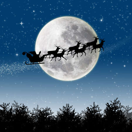 night sky: Illustration of Santa Claus and his reindeer sleigh in silhouette against a blue winter landscape