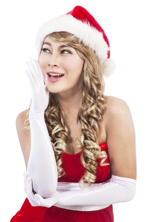Portrait of beautiful sexy girl wearing santa claus clothes isolated on white background photo