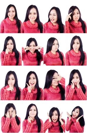 foto carnet: Retrato de muchacha hermosa con el pelo largo en las diferentes expresiones faciales aislados en blanco