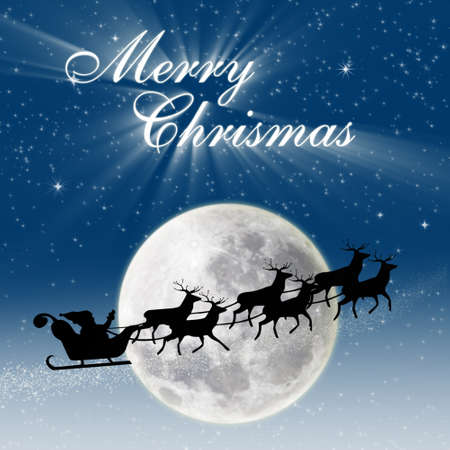 Christmas design for cards with greeting of Santa riding deers under the full moon, blue background photo