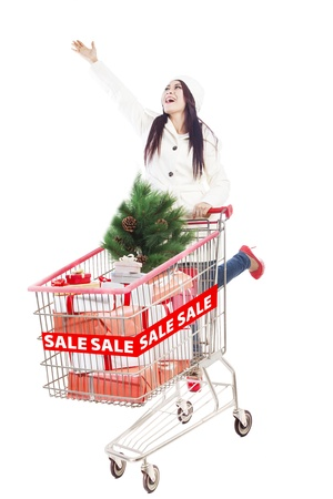 Long hair woman with trolley is shopping during Christmas sale Stock Photo - 16305145