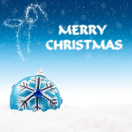 brightly colored: Christmas card  Christmas decoration with snow and unfocused lights background