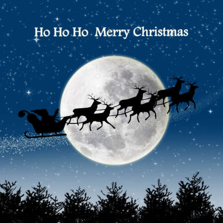 Silhouette of Santa ride and his deers flying in the sky on full moon blue background Stock Photo - 16320855