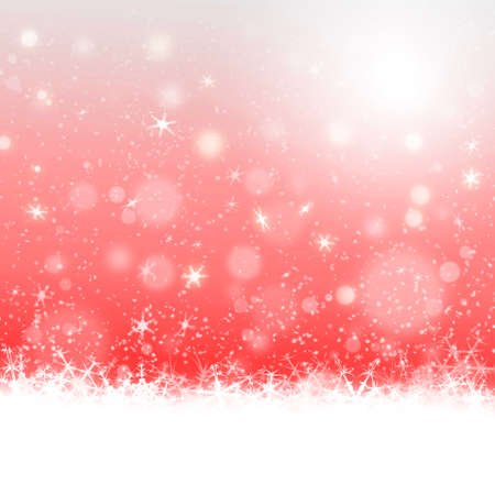 snowing: Christmas card design on red defocused lights background