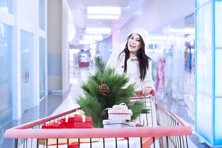 Woman is shopping for christmas at the mall with trolley photo