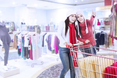 Two friends are shopping with trolley at the mall Stock Photo - 16494326