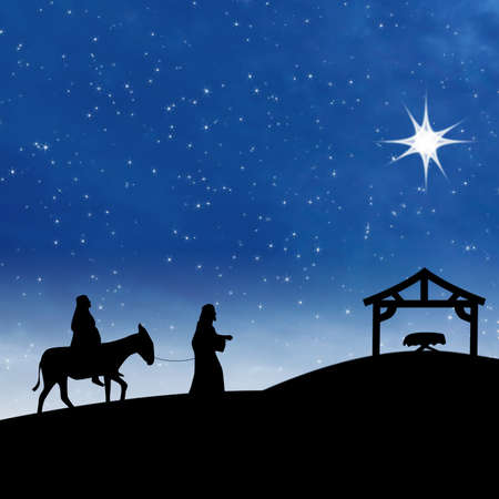 christmas religious: Nativity on the night of Jesus birth showing bright star and Saint Mary and Joseph