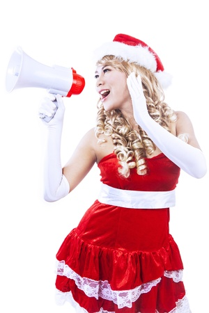 Mrs  Claus is yelling through megaphone to announce Christmas sale, isolated in white photo