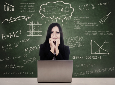 introvert: Afraid student facing online test while studying with her laptop at school