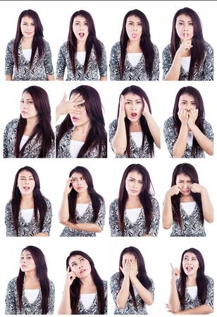 foto carnet: M�ltiples expresiones faciales de la mujer asi�tica hermosa aislado m�s de blanco