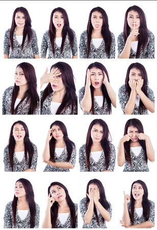 composite image: Multiple facial expressions of beautiful Asian woman isolated over white