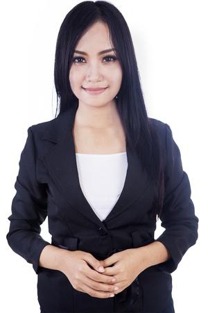 foto carnet: Atractiva mujer de negocios aislados en blanco Foto de archivo
