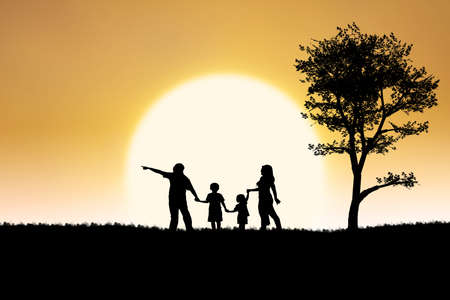 Silhouette of a family having holiday on sunset background photo