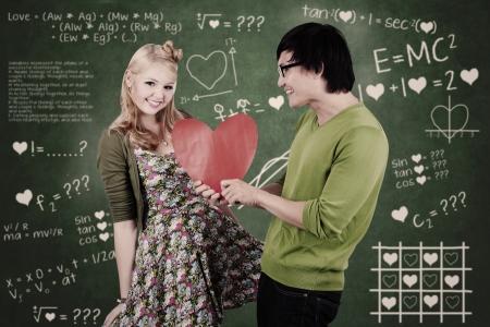 s horn: Cute nerd guy is giving his girlfriend Valentine