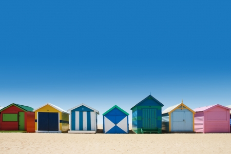 australia landscape: Colorful beach houses at brighton beach, Victoria Australia during summer Stock Photo