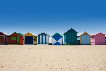 beach hut: Colorful beach houses at brighton beach, Victoria Australia during summer Stock Photo