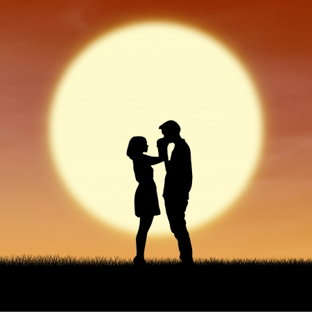 couple lit: Close up romantic couple by sunset silhouette Stock Photo