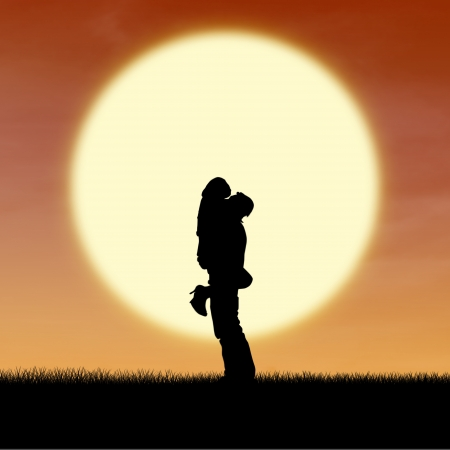 couple lit: Close up silhouette of couple by orange sunset