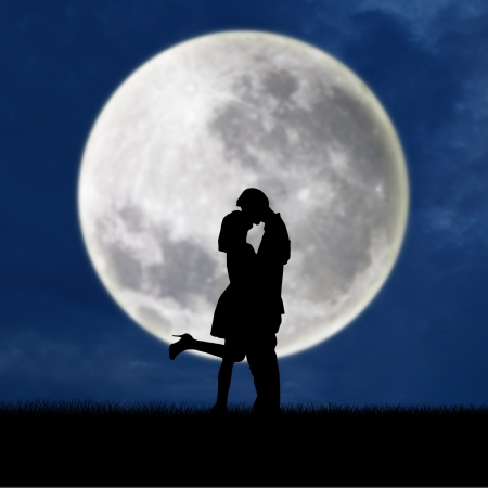 back to back couple: Silhouette of couple kissing under full moon Stock Photo