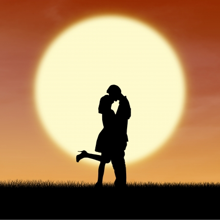 sun lit: Silhouette of couple kissing on sunset during valentine
