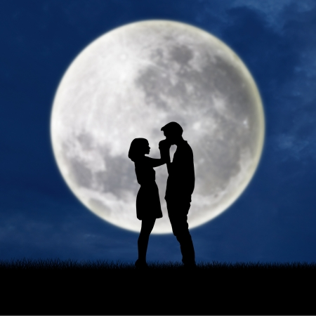 man on the moon: silhouette of guy kissing girl