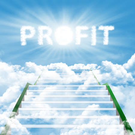 Illustration of stairway on the cloud to gain high profit illustration