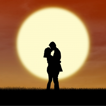 Romantic couple silhouette kiss by sunset photo