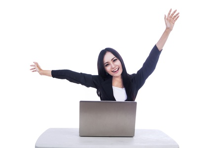 Picture of beautiful businesswoman who succeed in her job isolated over white Stock Photo - 16823617