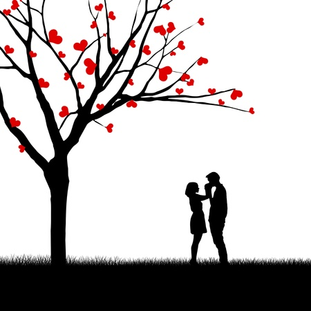 couples outdoors: Silhouette of a couple and tree with love leaves isolated over white