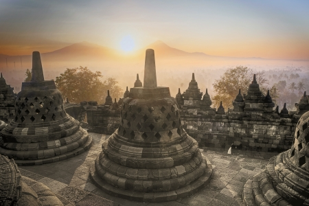 Picture of Borobuder Temple at sunrise in Java island,  Indonesia photo