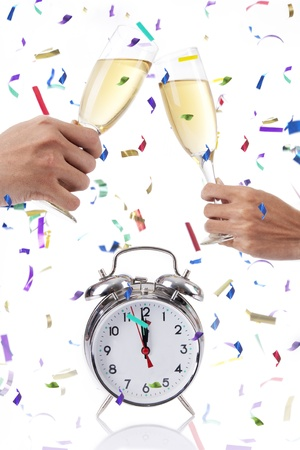 Celebrating new year with Champagne isolated on white Stock Photo - 16836576
