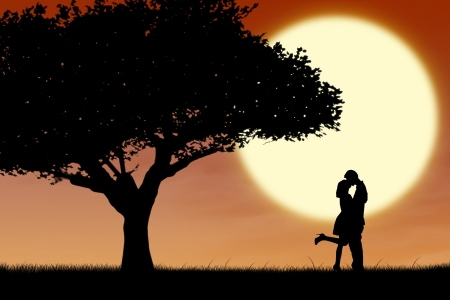 happiness people silhouette on the sunset: Silhouette of couple kissing near a tree on orange sunset background Stock Photo