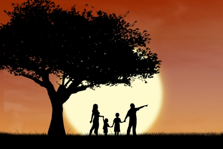 Silhouette of a family and tree on sunset background photo