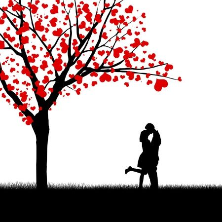 love tree: Silhouette of kissing couple beside love tree