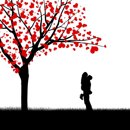 Silhouette of a couple and love tree isolated on white photo