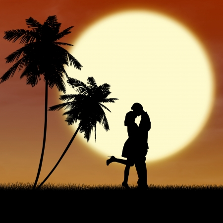 couple lit: Silhouette of a couple kissing near palm trees at the beach Stock Photo