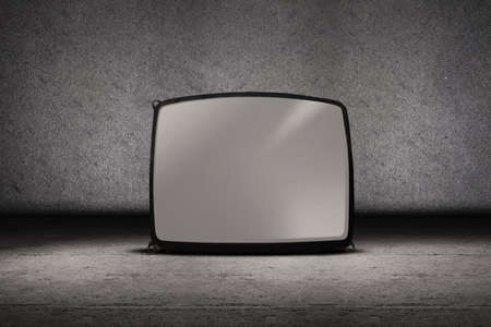 Picture of television vintage on grey background photo