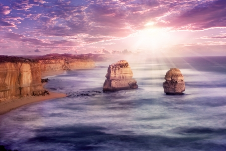 twelve: 12 apostles at Great Ocean Road, Australia