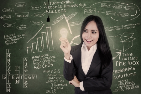 indonesian woman: Businesswoman holds lit light bulb in classroom in front of blackboard with chalk writings on it Stock Photo