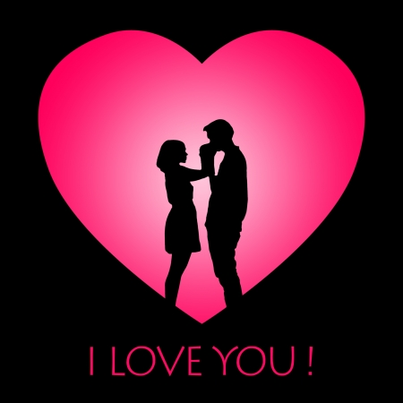 back lit: Valentine card design showing silhouette of a couple hugging on pink heart background