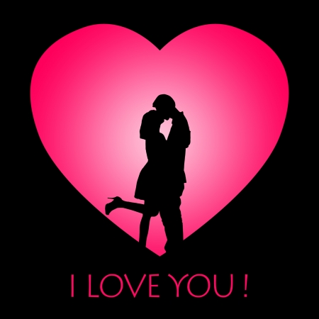 women kissing: Valentine card design with silhouette of kissing couple on pink love background