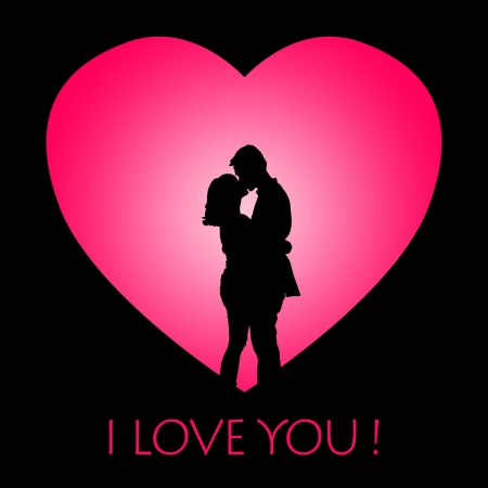 couple lit: Valentine card with silhouette of a couple kissing