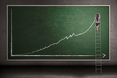 executive board: Businesswoman is climbing ladder while drawing profit chart on the blackboard