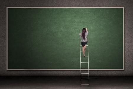 businesswoman skirt: Businesswoman is climbing a ladder in front of a blackboard