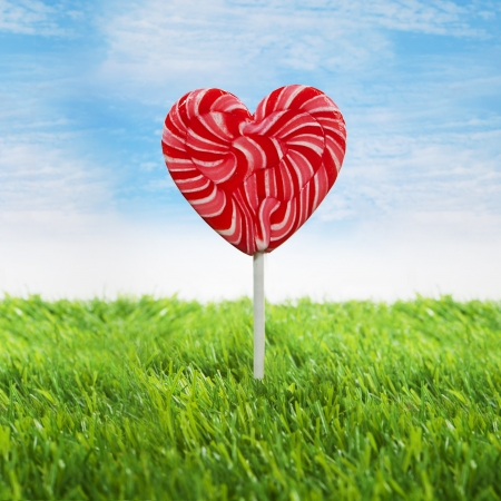 heart under: Big heart lollipop is sticking in the green grass under blue sky Stock Photo