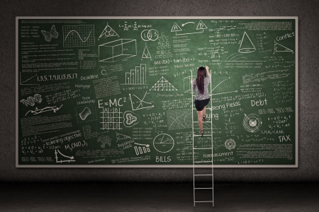 Businesswoman is climbing a ladder looking at hand drawn chalkboard in a classroom photo