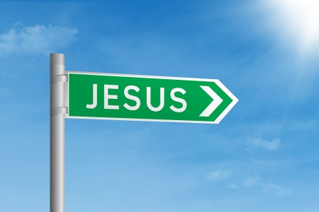 Green road sign of Jesus under blue sky Stock Photo - 17573277