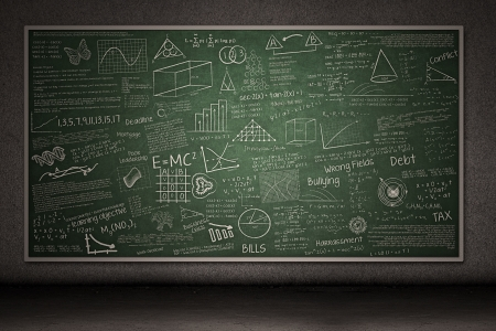 classroom chalkboard: Chalkboard with hand drawings and writings on it Stock Photo