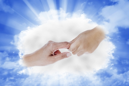 son of god: A helping hand that comes from heaven on bright blue sky background